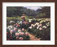 Woman in a Garden of Peonies Fine Art Print
