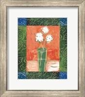 White Flowers on Orange Fine Art Print