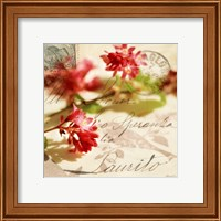Vintage Letters and Pink Blossoms Fine Art Print