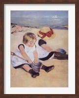 Children Playing On The Beach Fine Art Print