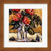 Vase Of Red Peonies Fine Art Print