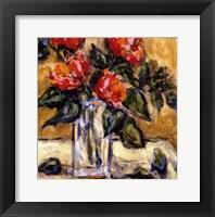 Vase Of Red Peonies Fine Art Print