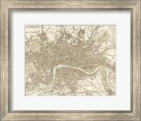 Sepia Map Of London Fine Art Print