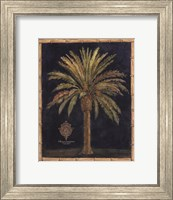 Caribbean Palm I With Bamboo Border Fine Art Print