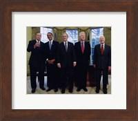 Presidents Bush Senior, Obama, Clinton, Bush and Carter Fine Art Print