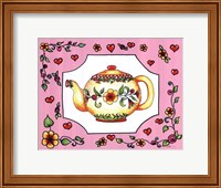 Teapot with Pink Coral Floral Fine Art Print