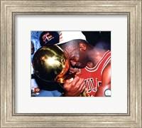 Michael Jordan Game 5 of the 1991 NBA Finals with Championship Trophy Fine Art Print
