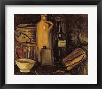 Still life with pots, bottles and flasks Fine Art Print
