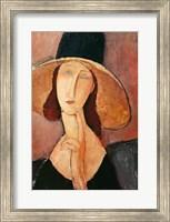 Portrait of Jeanne Hebuterne in a large hat, c.1918-19 Fine Art Print