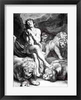 Daniel in the Lions' Den - black and white Fine Art Print
