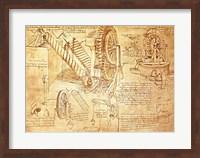 Facsimile of Codex  Atlanticus Screws and Water Wheels Fine Art Print