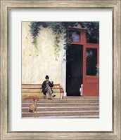 The Artist's Father and Son on the Doorstep of his House Fine Art Print