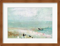 Beach with figures and a jetty. c.1830 Fine Art Print