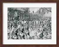 The Continental Army Marching Down the Old Bowery, New York, 25th November 1783 Fine Art Print