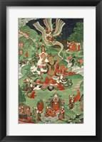 Buddha cutting a tuft of hair, Tibetan temple banner Fine Art Print