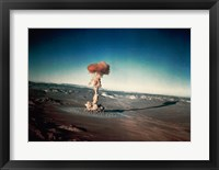 Atomic bomb testing in the desert Fine Art Print