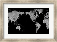 Close-up of a world map - black Fine Art Print