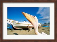 Pelican and Fishing Boats on Beach, Mykonos, Cyclades Islands, Greece Fine Art Print