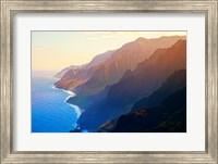 Mountain range at sunrise, Na Pali Coast, Kauai, Hawaii, USA Fine Art Print