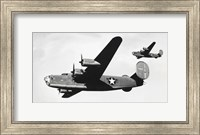 Low angle view of two bomber planes in flight, B-24 Liberator Fine Art Print