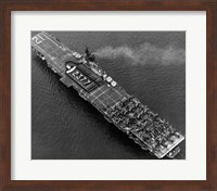 High angle view of an aircraft carrier in the sea, USS Boxer (CV-21), 1951 Fine Art Print