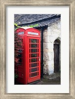 Telephone booth outside a house, Castle Combe, Cotswold, Wiltshire, England Fine Art Print