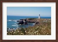 Lighthouse on the coast, Yaquina Head Lighthouse, Oregon, USA Fine Art Print