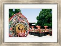 Decorative drum in front of a building, Meiji Jingu Shrine, Tokyo, Japan Fine Art Print
