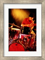 Male drummer playing drums Fine Art Print
