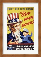 Don't Let Him Down! Buy War Bonds Fine Art Print