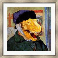 T Rex Van Gogh with Bandaged Battle Damaged Ear Fine Art Print