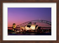 Opera house lit up at night, Sydney Opera House, Sydney Harbor Bridge, Sydney, Australia Fine Art Print