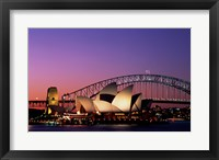 Opera house lit up at night, Sydney Opera House, Sydney Harbor Bridge, Sydney, Australia Fine Art Print