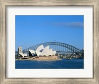 Opera house on the waterfront, Sydney Opera House, Sydney Harbor Bridge, Sydney, Australia Fine Art Print
