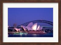 Opera house lit up at dusk, Sydney Opera House, Sydney Harbor Bridge, Sydney, Australia Fine Art Print