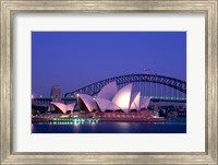Opera house lit up at dusk, Sydney Opera House, Sydney Harbor Bridge, Sydney, Australia Fine Art Print
