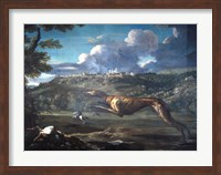 Pace, Michelangelo, Greyhound, rabbit, and the Castle of Ariccia Fine Art Print