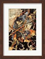 Li Hayata Hironao grappling with the monstruos nue Fine Art Print