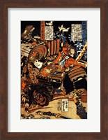 Matano Goro Kagehisa wrestling with Sanada Yoichi Yoshitada Fine Art Print