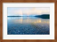 Reflection of a rainbow in a lake, Lake Khovsgol, Sayan Mountains, Russian-Mongolian border Fine Art Print