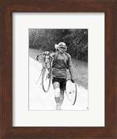 Italian Giusto Cerutti has a broken wheel after a fall. Tour de France 1928 Fine Art Print
