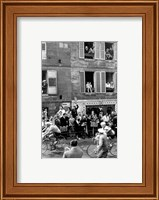 People watching the cyclists being provisioned. Tour de France 1958. Fine Art Print