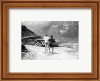 The Belgian Maurice Geldhof is climbing part of the Aubisque on foot. Tour de France 1928 Fine Art Print