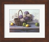 Basket of Purple Flowers Fine Art Print