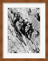 Drillers at work on canyon wall above power plant location Fine Art Print