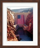 Hoover Dam with large  American flag Fine Art Print