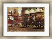 Bicycles parked in front of a restaurant at night, Dublin, Ireland Fine Art Print