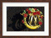 Wreath on the Vietnam Veterans Memorial Wall, Vietnam Veterans Memorial, Washington, D.C., USA Fine Art Print