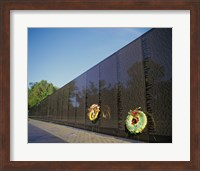 Wreaths on the Vietnam Veterans Memorial Wall, Vietnam Veterans Memorial, Washington, D.C., USA Fine Art Print