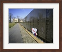 Close-up of a memorial, Vietnam Veterans Memorial Wall, Vietnam Veterans Memorial, Washington DC, USA Fine Art Print